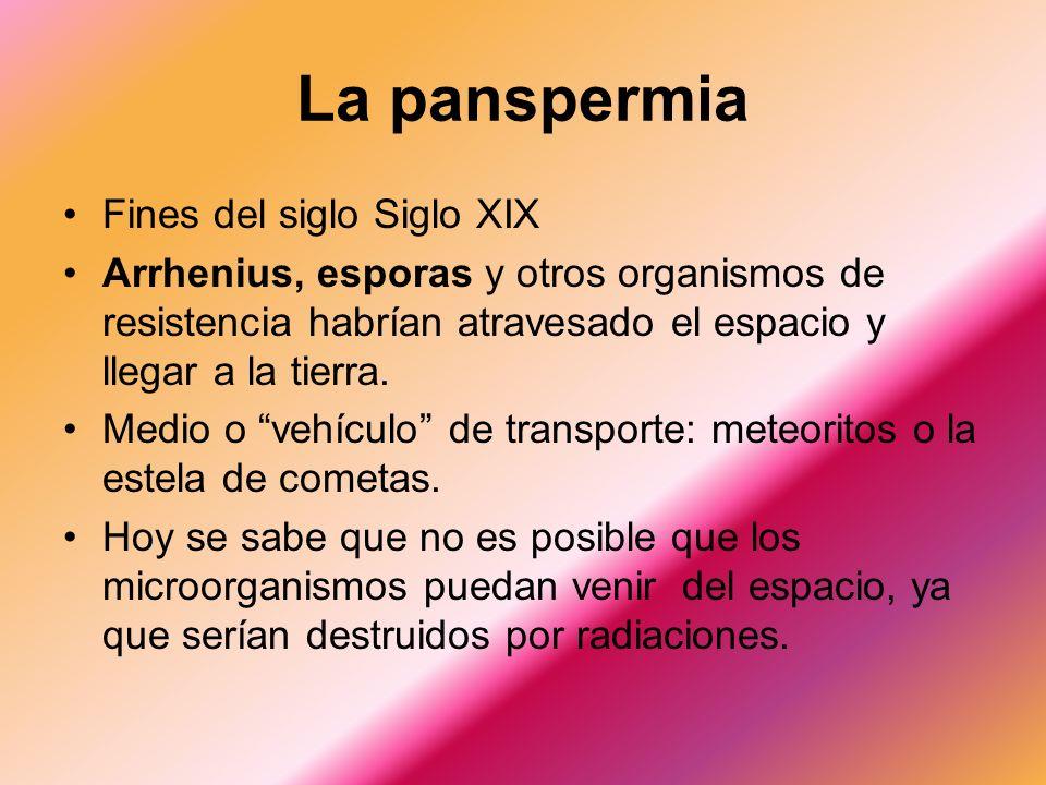 La panspermia Fines del siglo Siglo XIX