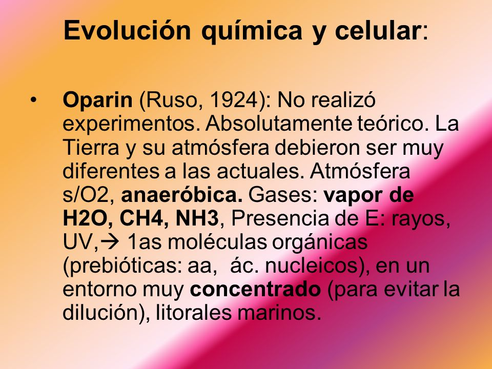 Evolución química y celular: