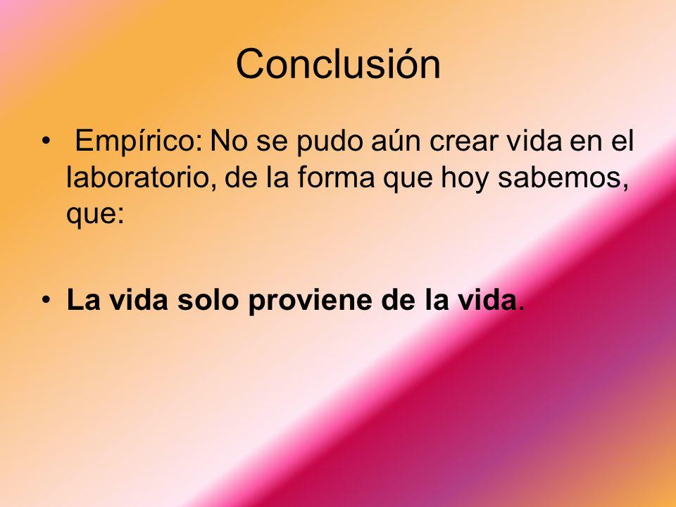 Conclusión Empírico: No se pudo aún crear vida en el laboratorio, de la forma que hoy sabemos, que: