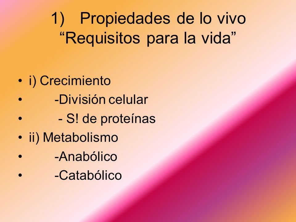 1) Propiedades de lo vivo Requisitos para la vida