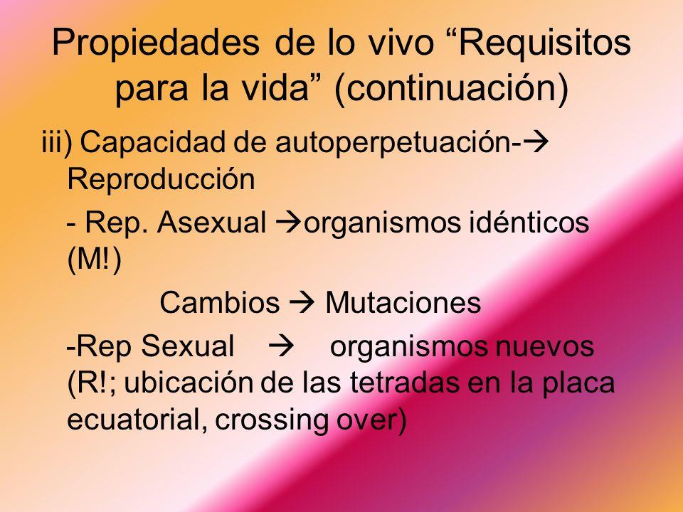 Propiedades de lo vivo Requisitos para la vida (continuación)