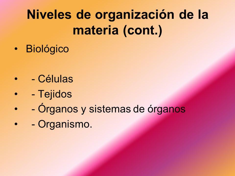 Niveles de organización de la materia (cont.)