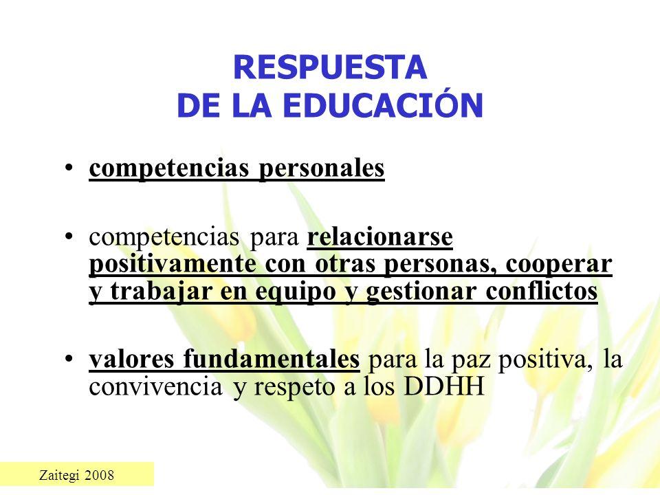 RESPUESTA DE LA EDUCACIÓN