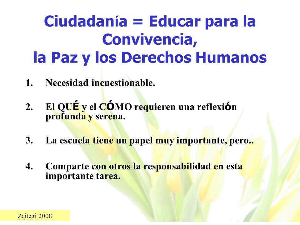Ciudadanía = Educar para la Convivencia, la Paz y los Derechos Humanos