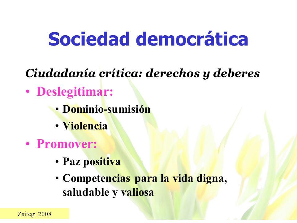 Sociedad democrática Deslegitimar: Promover: