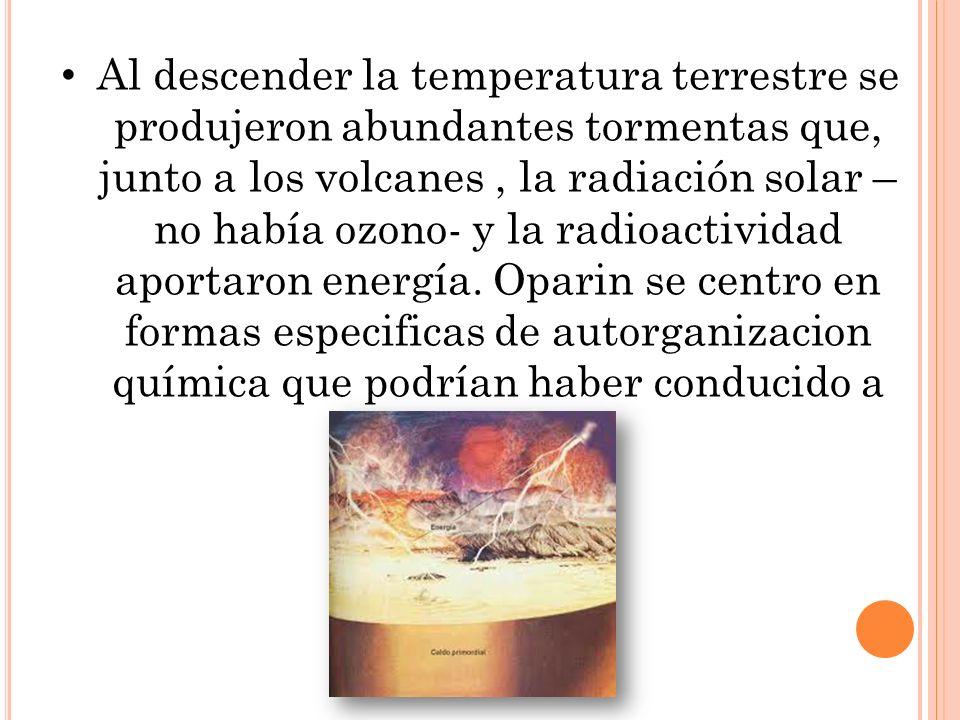 Al descender la temperatura terrestre se produjeron abundantes tormentas que, junto a los volcanes , la radiación solar –no había ozono- y la radioactividad aportaron energía.