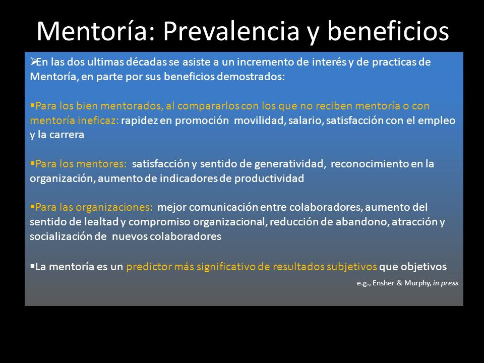 Mentoría: Prevalencia y beneficios