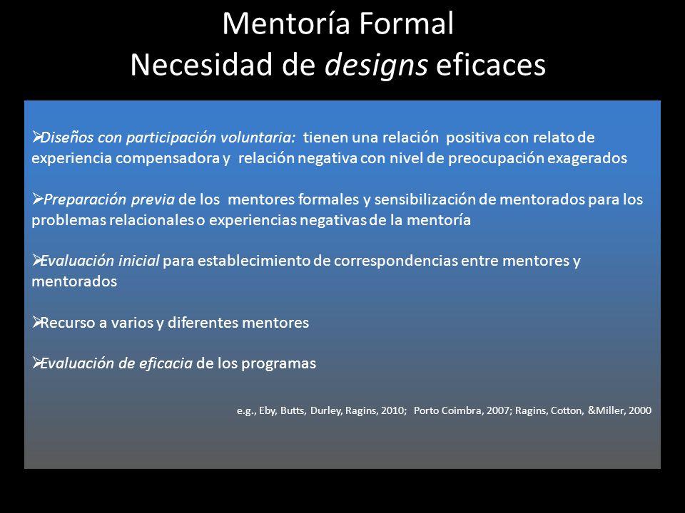 Mentoría Formal Necesidad de designs eficaces