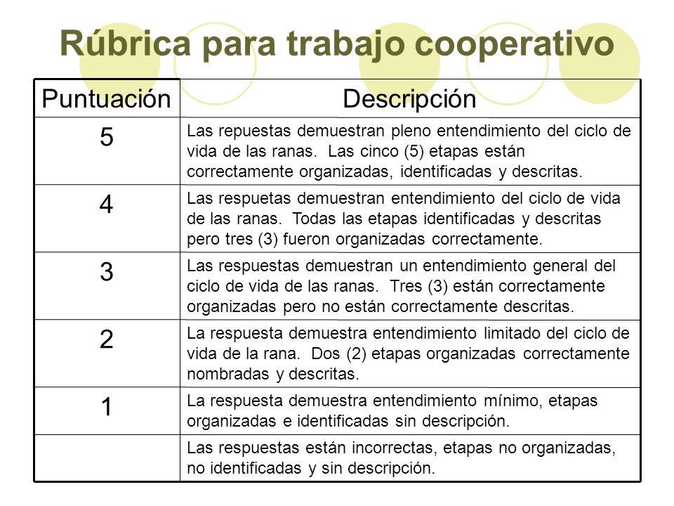 Rúbrica para trabajo cooperativo