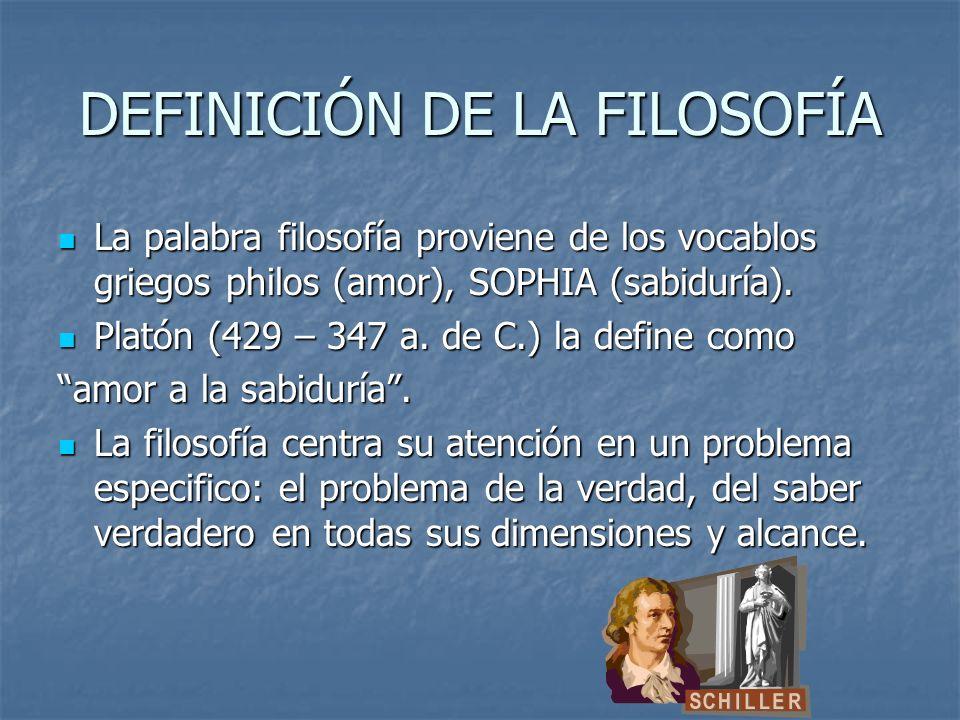 DEFINICIÓN DE LA FILOSOFÍA