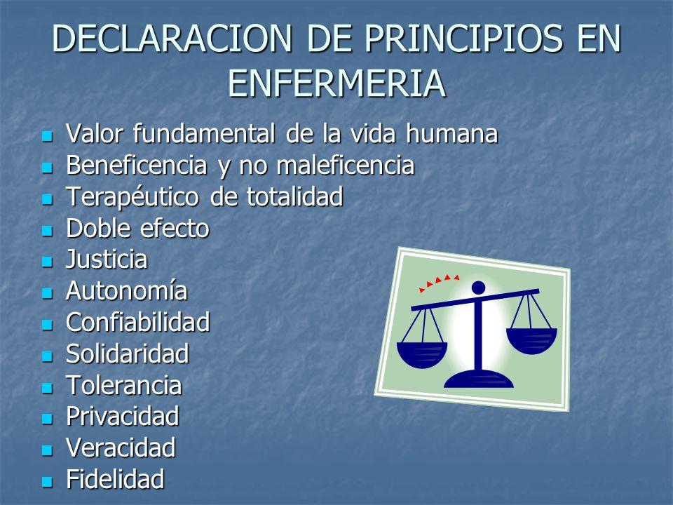DECLARACION DE PRINCIPIOS EN ENFERMERIA