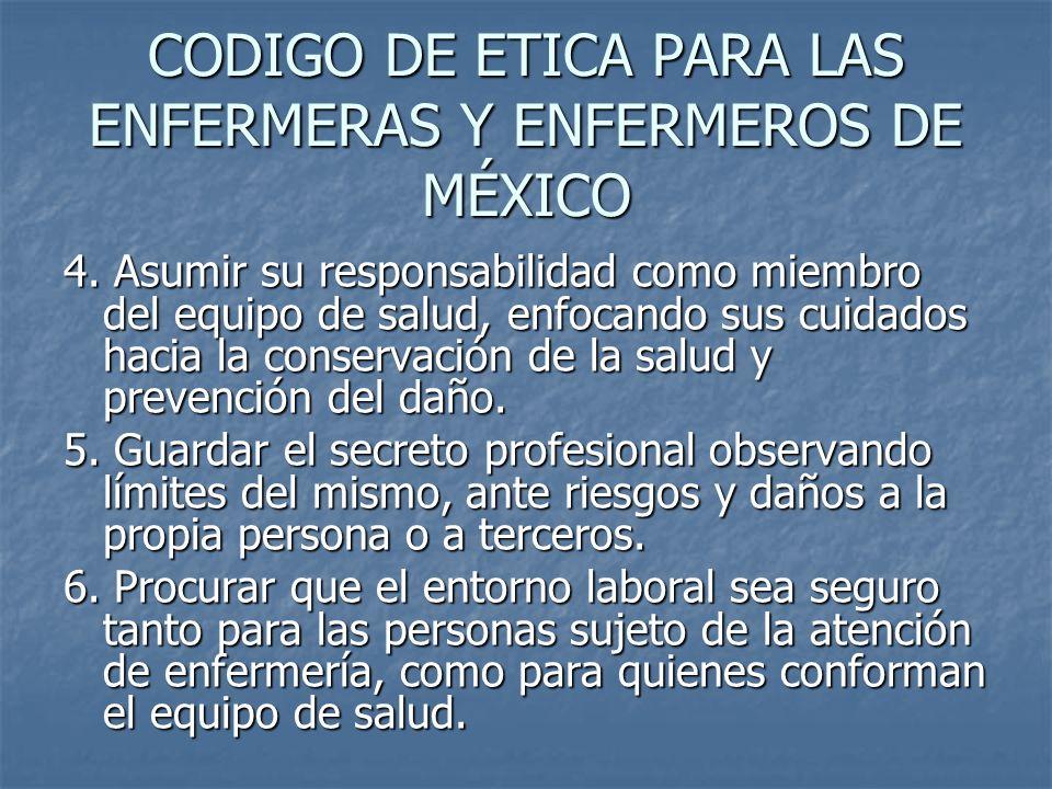 CODIGO DE ETICA PARA LAS ENFERMERAS Y ENFERMEROS DE MÉXICO