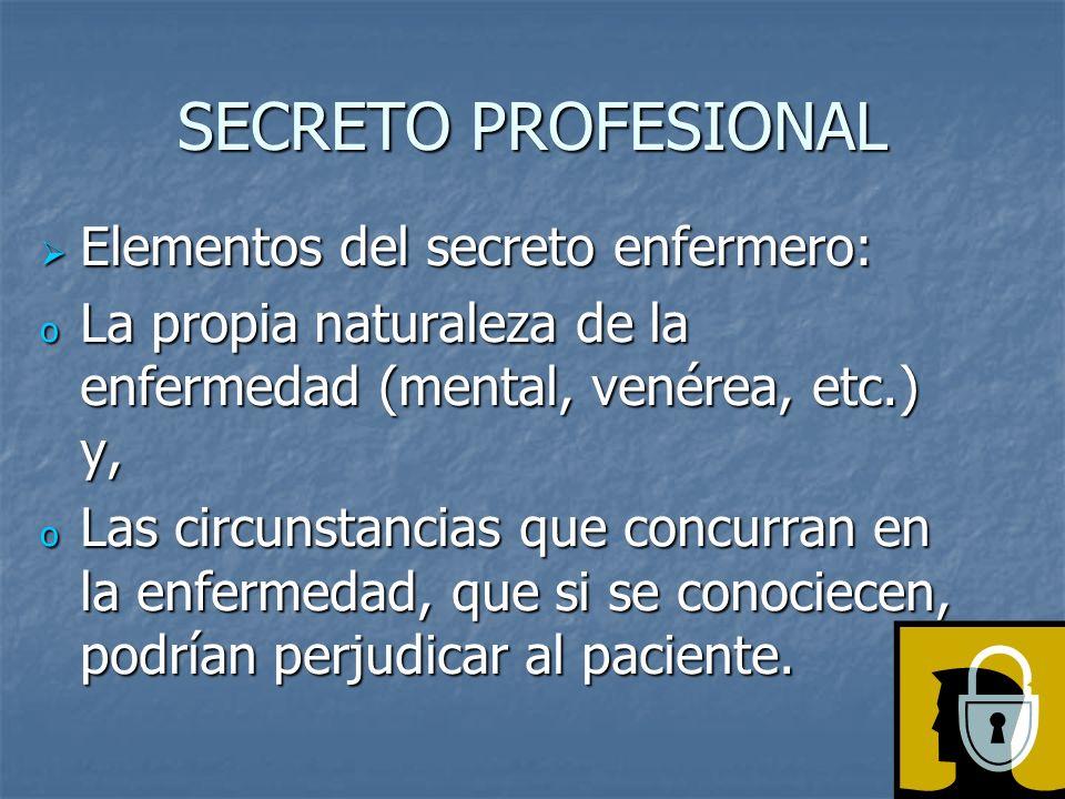 SECRETO PROFESIONAL Elementos del secreto enfermero:
