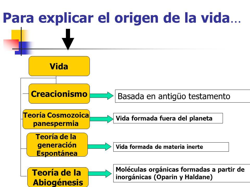 Para explicar el origen de la vida…
