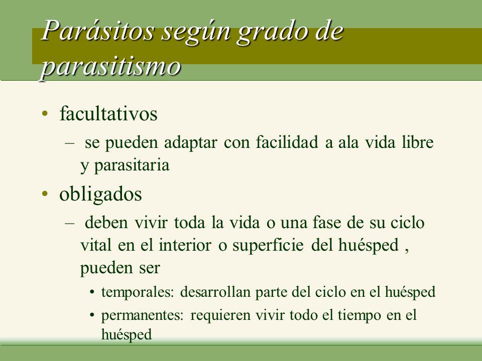 Parásitos según grado de parasitismo