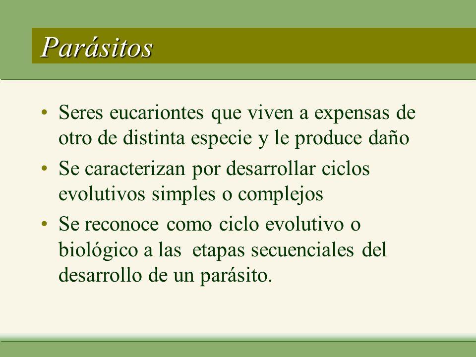 Parásitos Seres eucariontes que viven a expensas de otro de distinta especie y le produce daño.