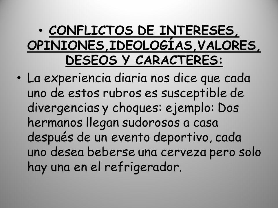 CONFLICTOS DE INTERESES, OPINIONES,IDEOLOGÍAS,VALORES, DESEOS Y CARACTERES:
