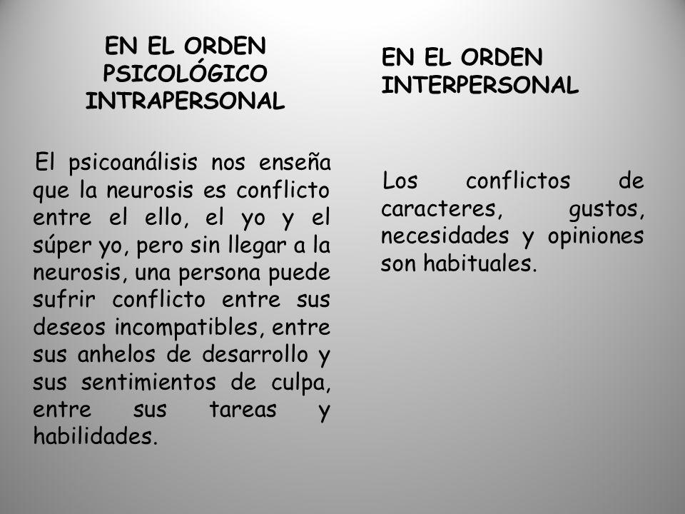 EN EL ORDEN PSICOLÓGICO INTRAPERSONAL