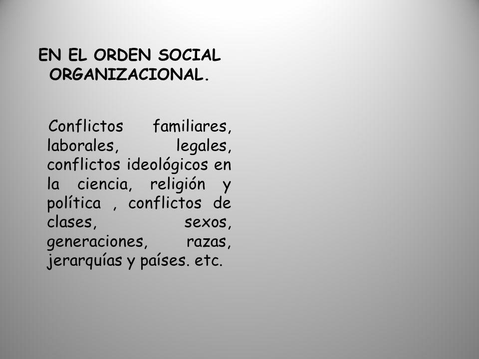 EN EL ORDEN SOCIAL ORGANIZACIONAL.