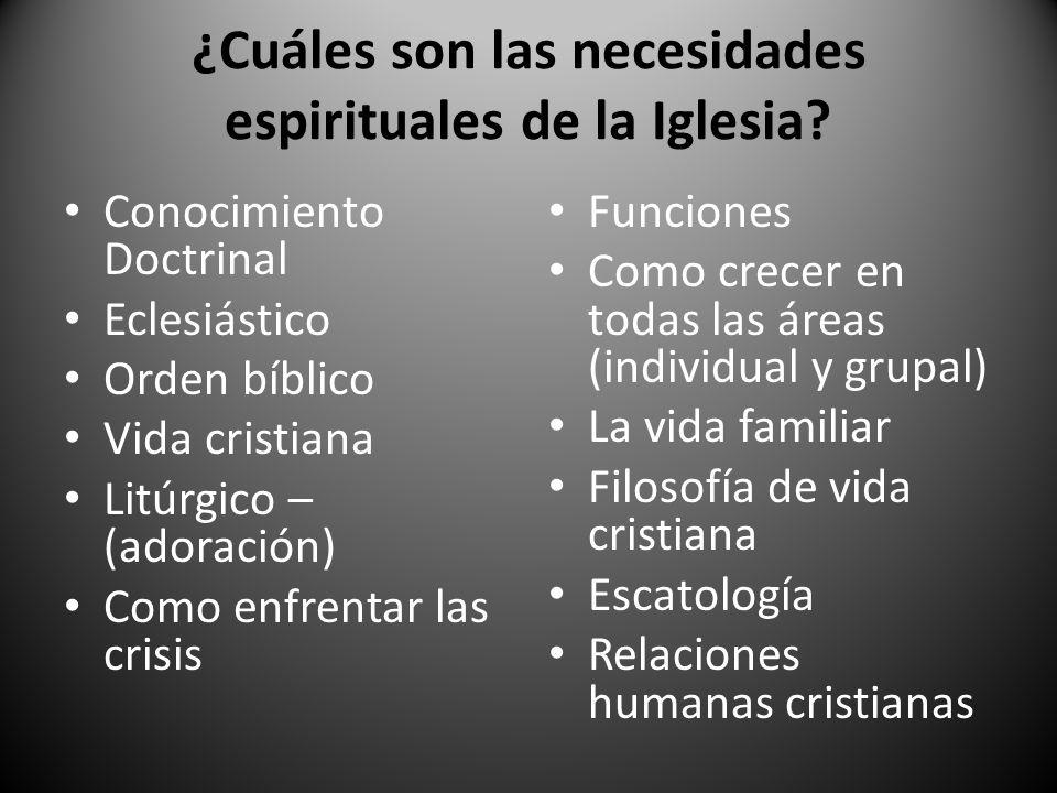¿Cuáles son las necesidades espirituales de la Iglesia