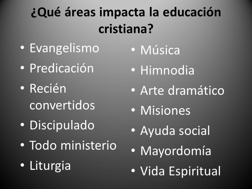 ¿Qué áreas impacta la educación cristiana
