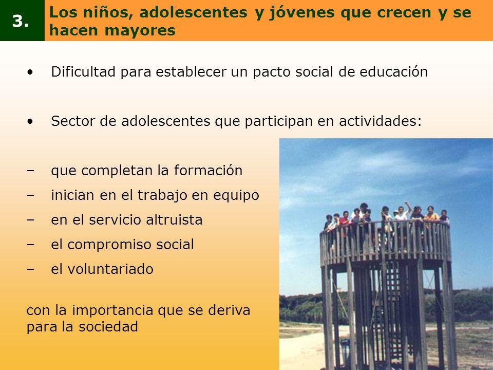 3. Los niños, adolescentes y jóvenes que crecen y se hacen mayores
