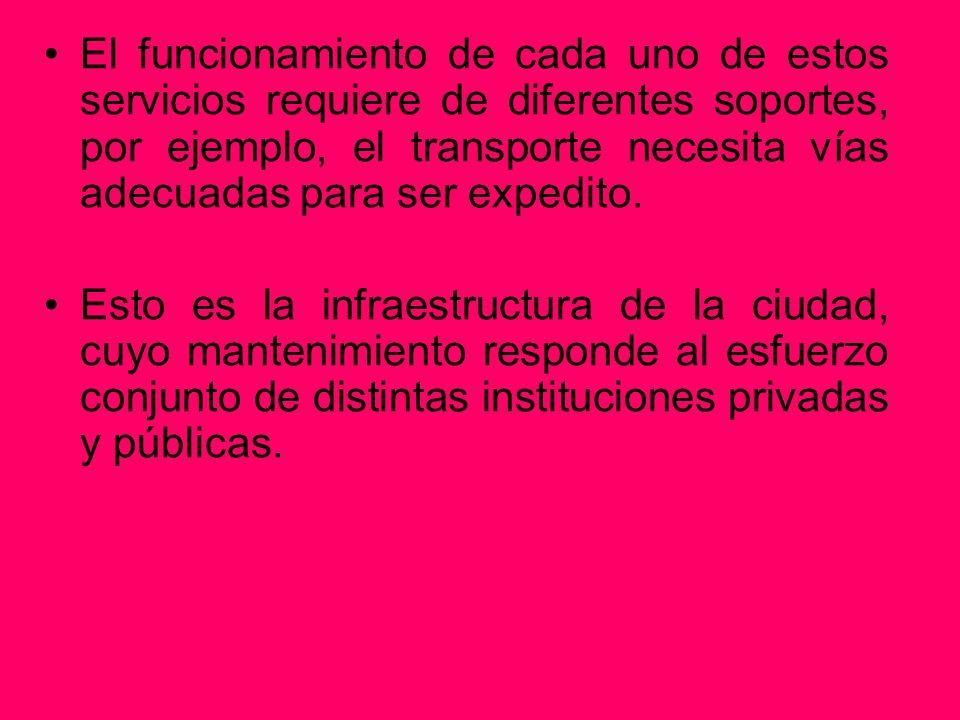 El funcionamiento de cada uno de estos servicios requiere de diferentes soportes, por ejemplo, el transporte necesita vías adecuadas para ser expedito.