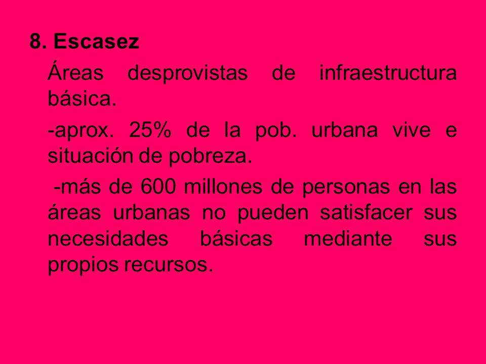 8. Escasez Áreas desprovistas de infraestructura básica. -aprox. 25% de la pob. urbana vive e situación de pobreza.