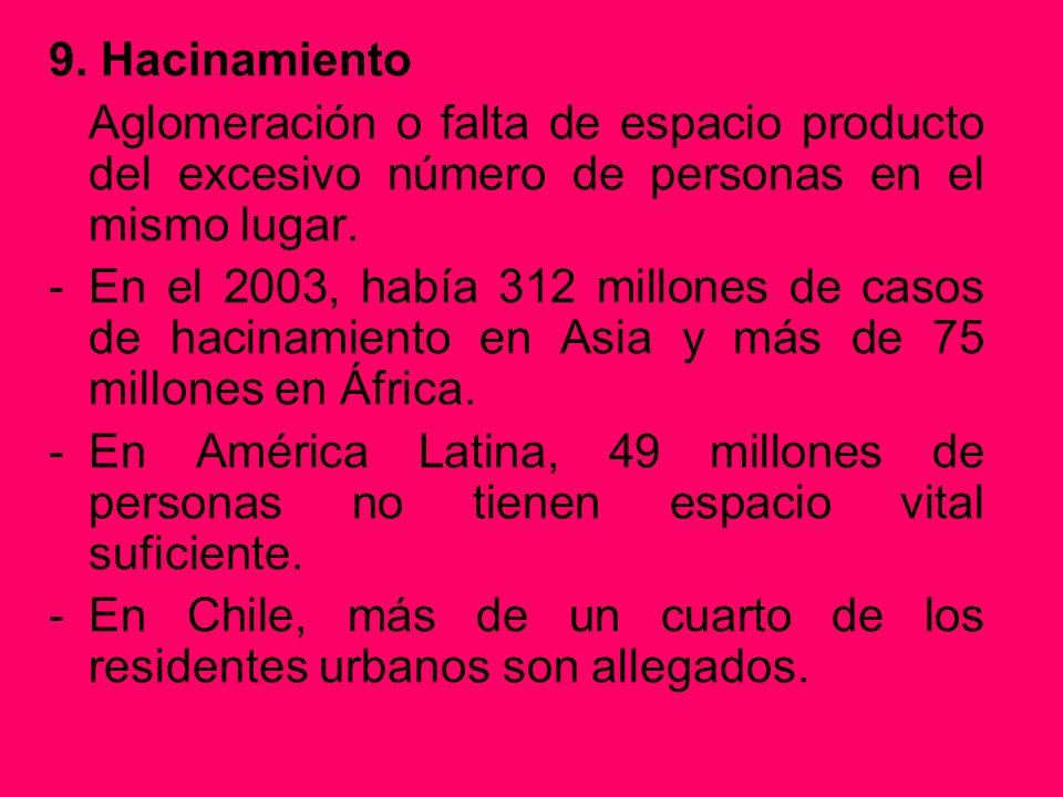 9. Hacinamiento Aglomeración o falta de espacio producto del excesivo número de personas en el mismo lugar.