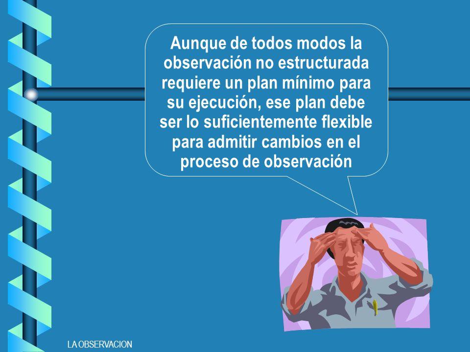 Aunque de todos modos la observación no estructurada requiere un plan mínimo para su ejecución, ese plan debe ser lo suficientemente flexible para admitir cambios en el proceso de observación