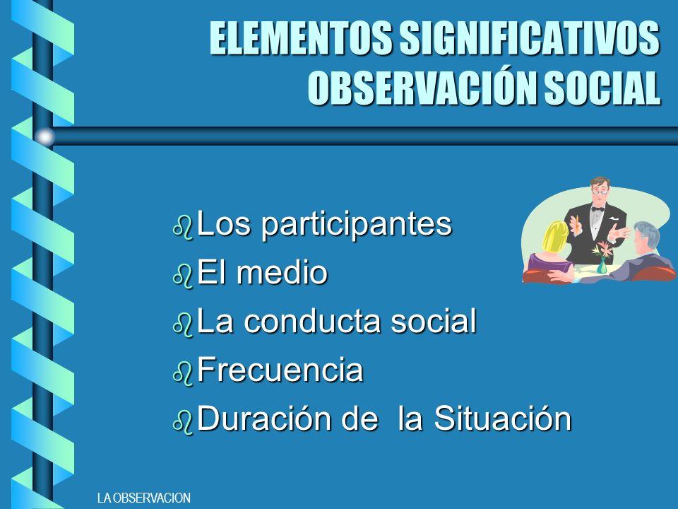 ELEMENTOS SIGNIFICATIVOS OBSERVACIÓN SOCIAL