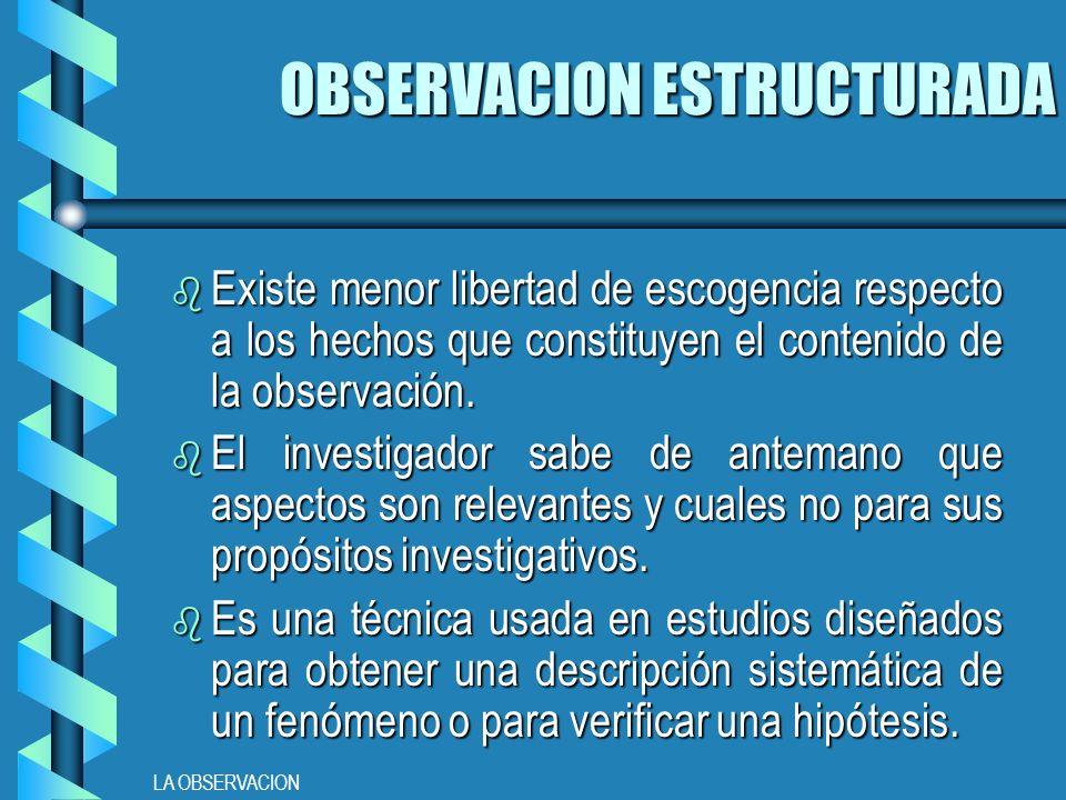OBSERVACION ESTRUCTURADA