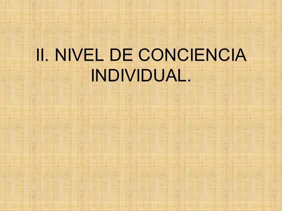 II. NIVEL DE CONCIENCIA INDIVIDUAL.
