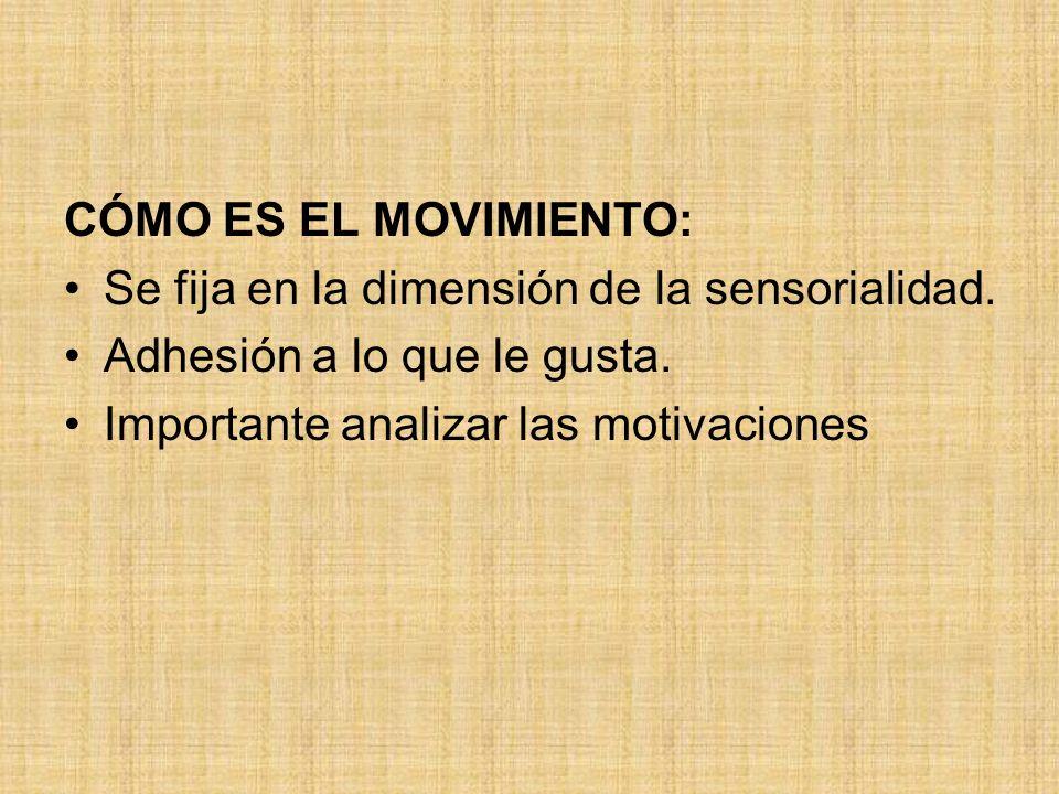 CÓMO ES EL MOVIMIENTO:Se fija en la dimensión de la sensorialidad.