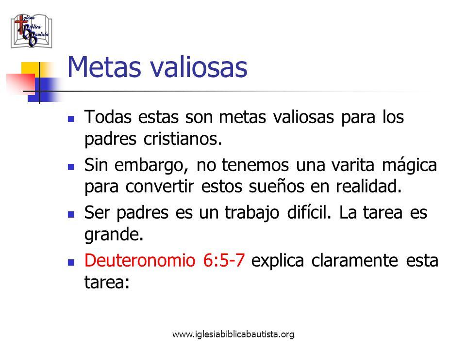 Metas valiosas Todas estas son metas valiosas para los padres cristianos.