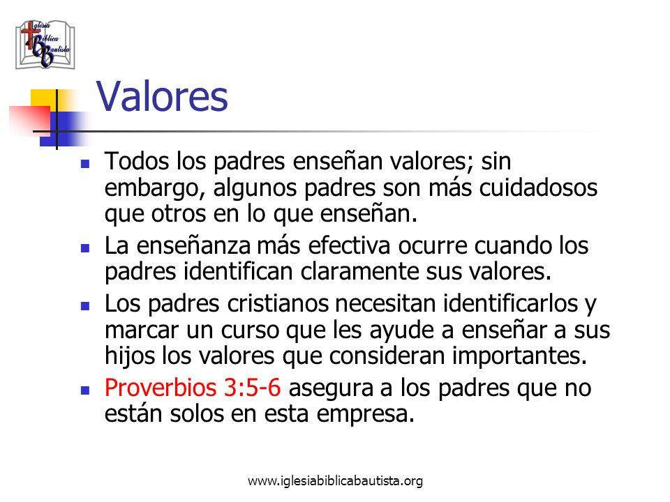 Valores Todos los padres enseñan valores; sin embargo, algunos padres son más cuidadosos que otros en lo que enseñan.