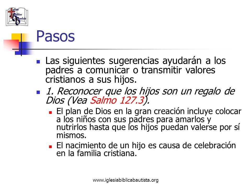 Pasos Las siguientes sugerencias ayudarán a los padres a comunicar o transmitir valores cristianos a sus hijos.