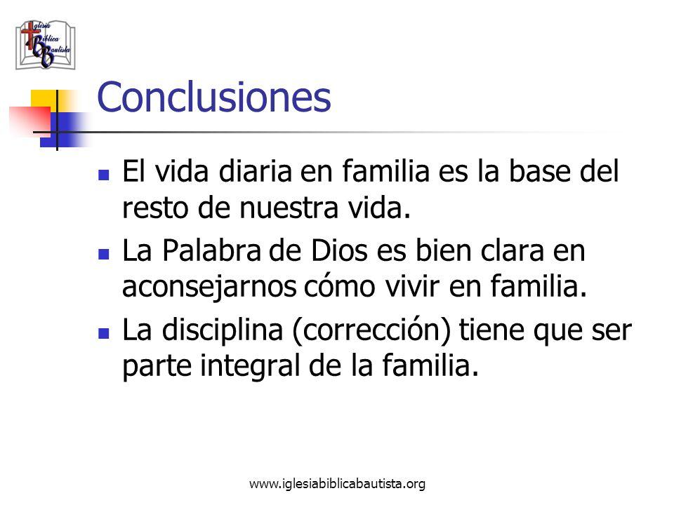 Conclusiones El vida diaria en familia es la base del resto de nuestra vida. La Palabra de Dios es bien clara en aconsejarnos cómo vivir en familia.