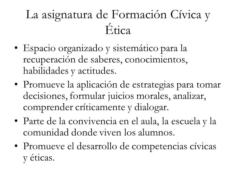 La asignatura de Formación Cívica y Ética