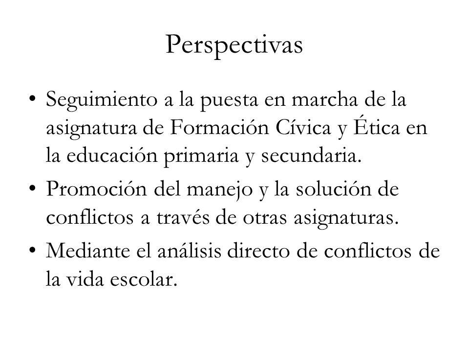 Perspectivas Seguimiento a la puesta en marcha de la asignatura de Formación Cívica y Ética en la educación primaria y secundaria.