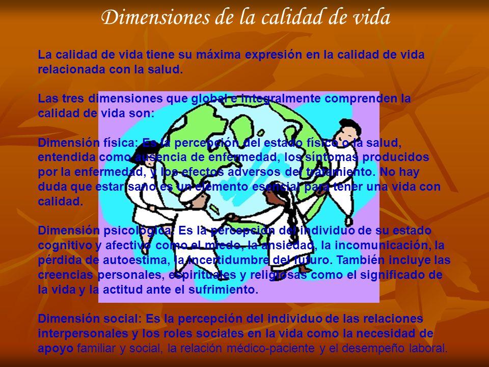 Dimensiones de la calidad de vida