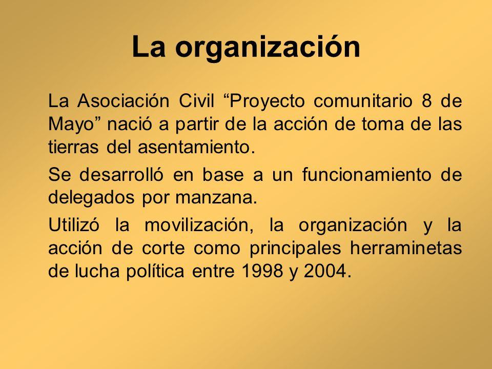 La organización La Asociación Civil Proyecto comunitario 8 de Mayo nació a partir de la acción de toma de las tierras del asentamiento.