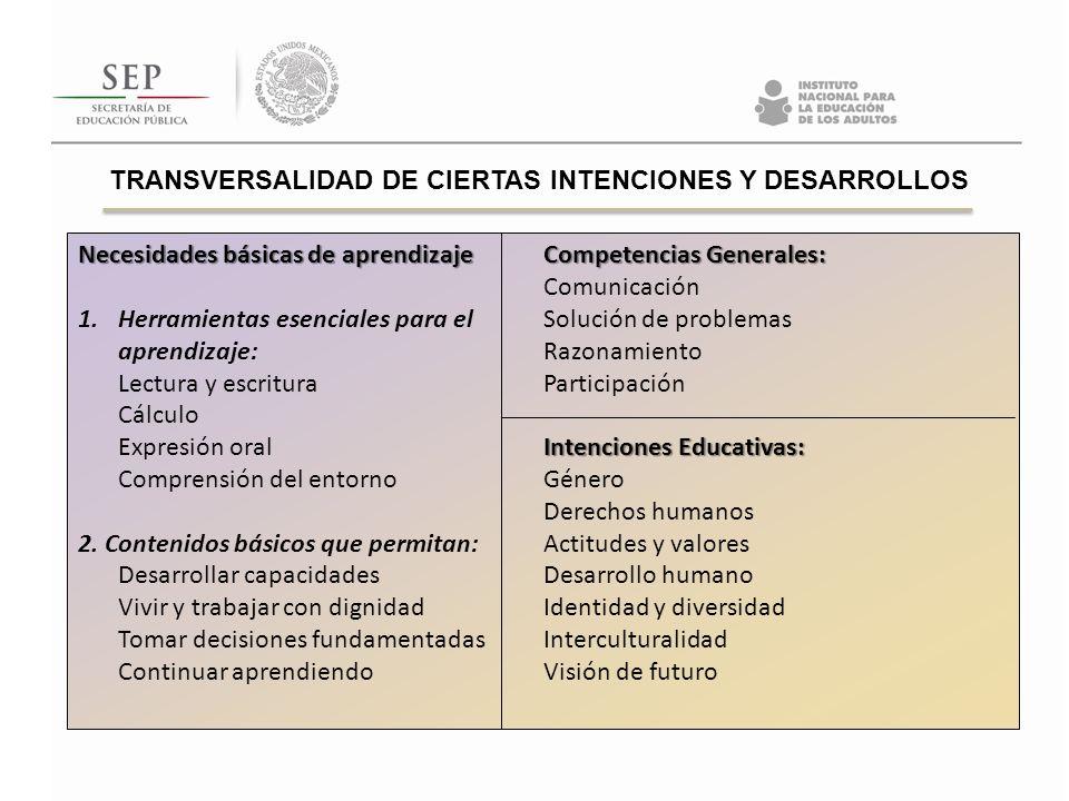 TRANSVERSALIDAD DE CIERTAS INTENCIONES Y DESARROLLOS