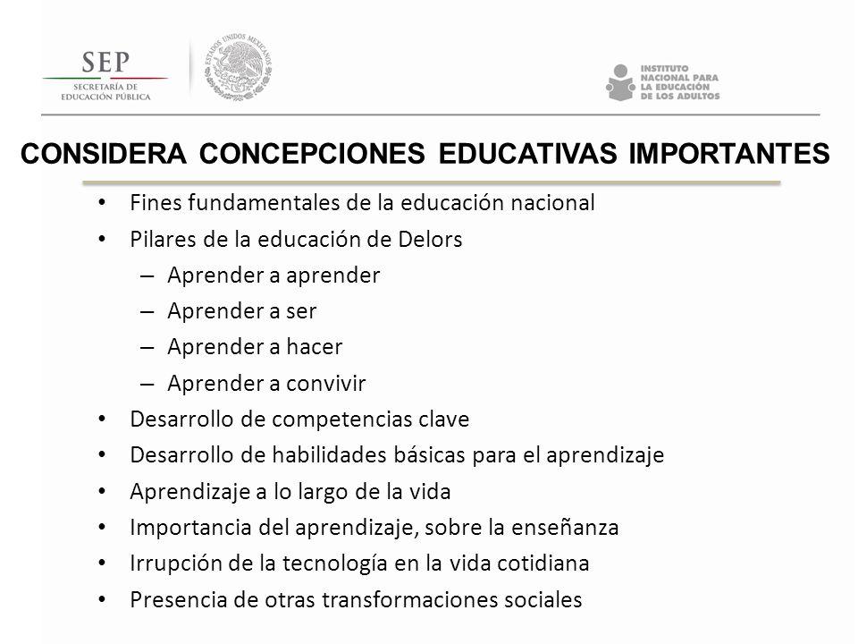 CONSIDERA CONCEPCIONES EDUCATIVAS IMPORTANTES