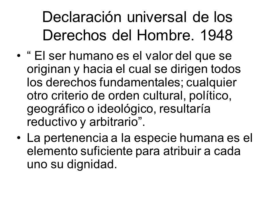 Declaración universal de los Derechos del Hombre. 1948