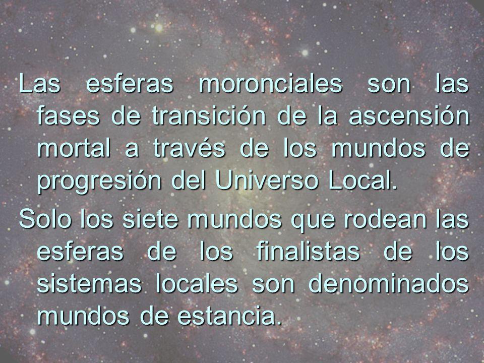 Las esferas moronciales son las fases de transición de la ascensión mortal a través de los mundos de progresión del Universo Local.