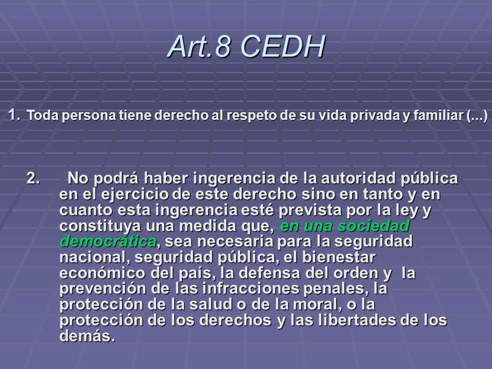 Art.8 CEDH Toda persona tiene derecho al respeto de su vida privada y familiar (...)