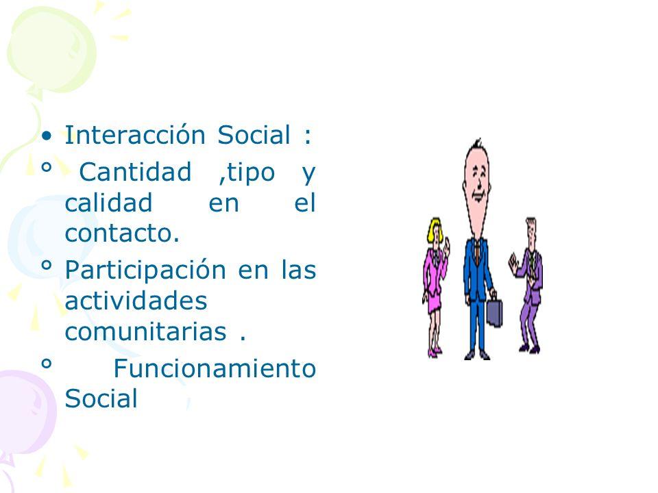 Interacción Social : ° Cantidad ,tipo y calidad en el contacto. ° Participación en las actividades comunitarias .