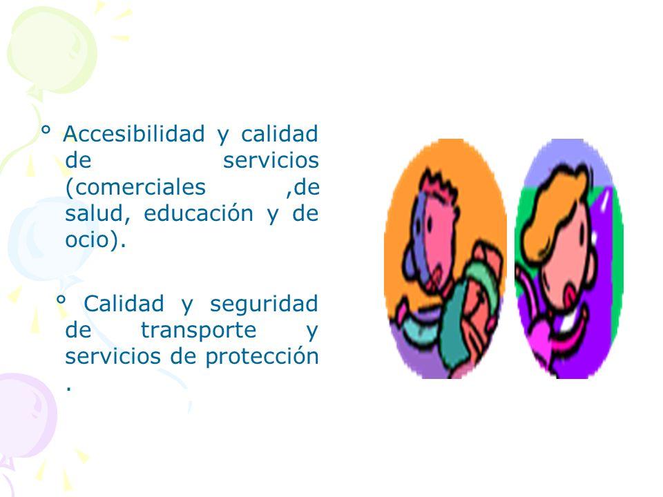 ° Accesibilidad y calidad de servicios (comerciales ,de salud, educación y de ocio).