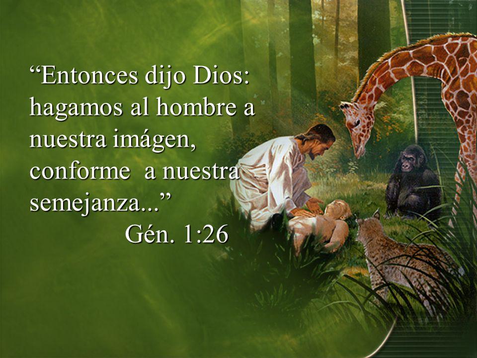 Entonces dijo Dios: hagamos al hombre a nuestra imágen, conforme a nuestra semejanza...